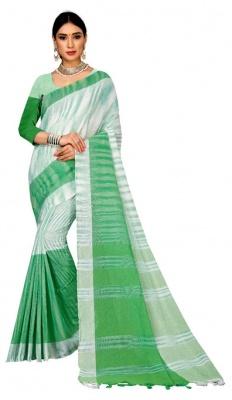 Handloom White Green Cotton Jharna Saree