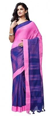 Handloom Pink Blue Cotton Jharna Saree