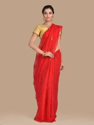 Red Hand woven Blended Cotton saree with Golden Ball Work