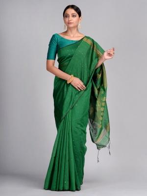 Dark Green Hand woven Saree with sequin and Zari work