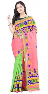 Green Pink Handloom Cotton Silk Katchi Work Saree