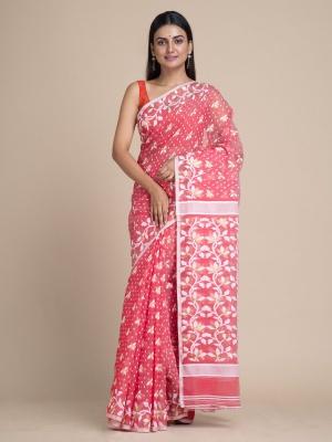 Handloom Floral Dhakai Jamdani Saree - RKB4672