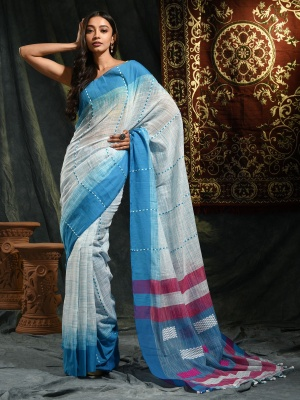 Handloom Khadi Cotton Handwoven Saree - RKB5020