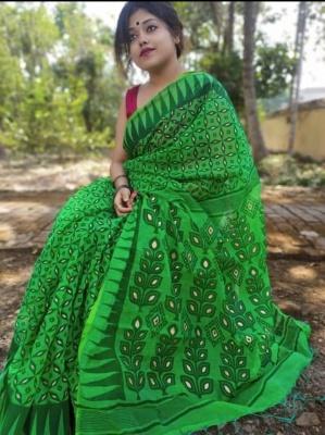 Handloom Minakari Printed Jamdani Saree - MINA01