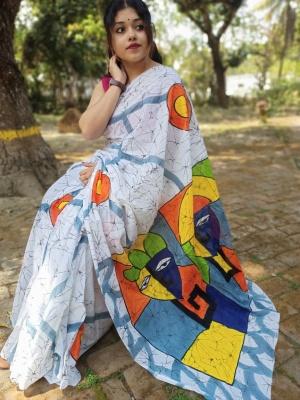 Hand Printed Batic Saree - MOL350A