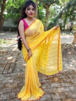 Handloom Khadi Cotton Striped Design Saree- AKCK20