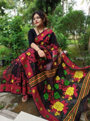 Handloom Rease Weave Dhakai Jamdani Saree - GOLAP1KJAM03