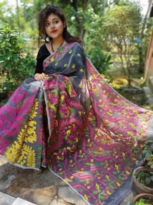 Handloom Floral Weave Dhakai Jamdani Saree - AKBASANTA13K07