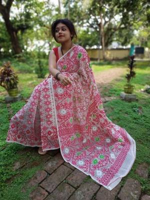Handloom Allover Body Buta Weave Jamdani Saree - KND1KJAM11
