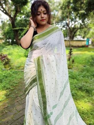 Handloom Cotton Tant Saree - KN40TNT12