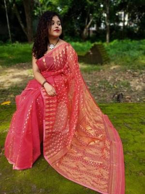 Handloom Kolki Motive Pallu Dhakai Jamdani - BENG-1K2HJAM-06