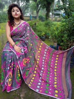 Bangladeshi Handloom Resham Woven Jamdani - AK-1K2BJAM-05
