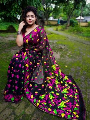 Handloom Parrot Motive Pallu Resham Jamdani - AK-1K2PRTJAM-03