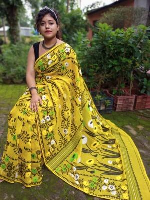 Handloom Flower Pallu Resham Jamdani - KUB-1K2SUNFL-02