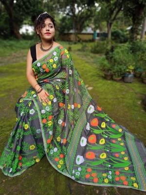 Handloom Flower Pallu Resham Jamdani - KUB-1K2SUNFL-06