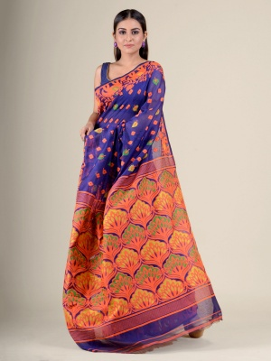 Handloom Mahapaar Weave Jamdani Saree - AK1KJAM14