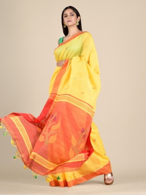 Handloom Blended Cotton Saree With Woven Pallu - PAL-RKB4921-SS-04