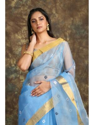 Handloom Resham Achal Tree Jamdani - PAL-1k6JAM-02